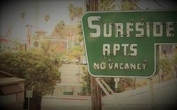 Surfside vintage sign and boardwalk view