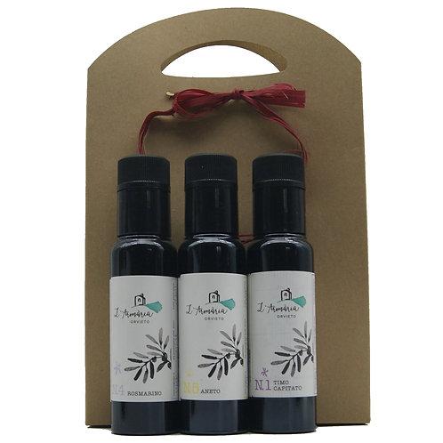 Confezione degustazione con 3 oli extravergine aromatizzati