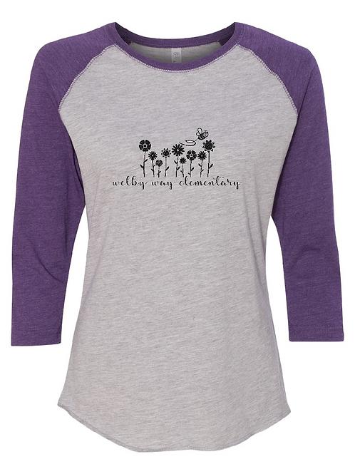 """Ladies Baseball Tee """"Flowers"""" 3/4 sleeve"""
