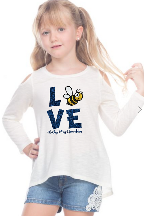 "Youth Cold Shoulder ""LOVE"" Long Sleeve"