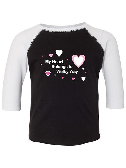 Toddler 3/4 Sleeve Hearts BBall Tee