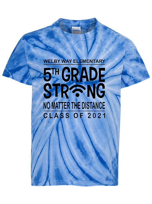 """Youth Tie-dyed """"5th Grade Strong"""" Tee"""
