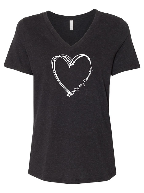 Ladies Heart Relaxed V Neck Tee