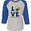 "Thumbnail: Ladies Baseball Tee ""Love"" 3/4 sleeve"