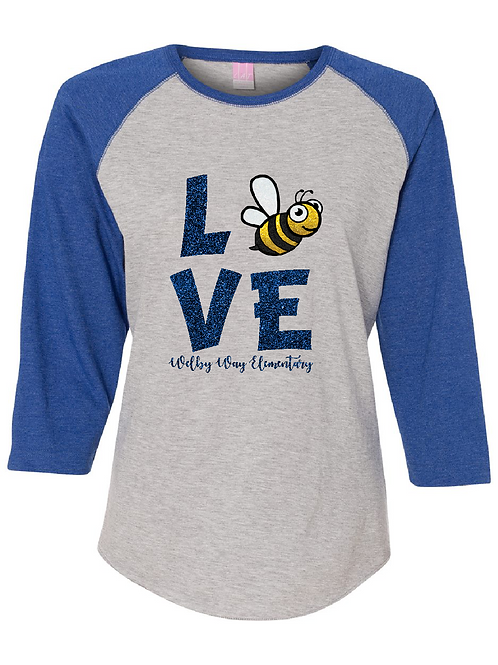 "Ladies Baseball Tee ""Love"" 3/4 sleeve"
