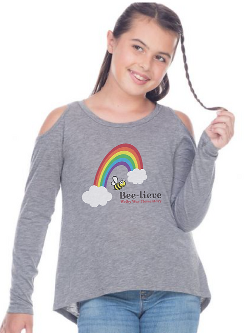 "Youth Cold Shoulder ""Rainbow"" Long Sleeve"