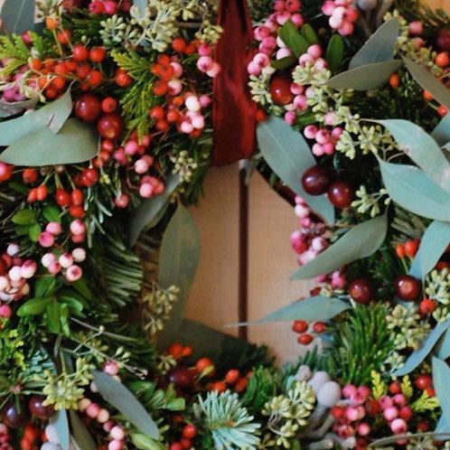 16-Inch Eucalyptus and Berry Wreath