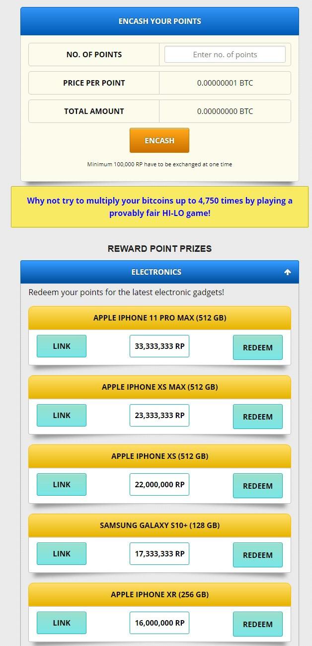 Freebitco.in Rewards Prizes