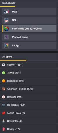 Fortunejack sportsbook menu