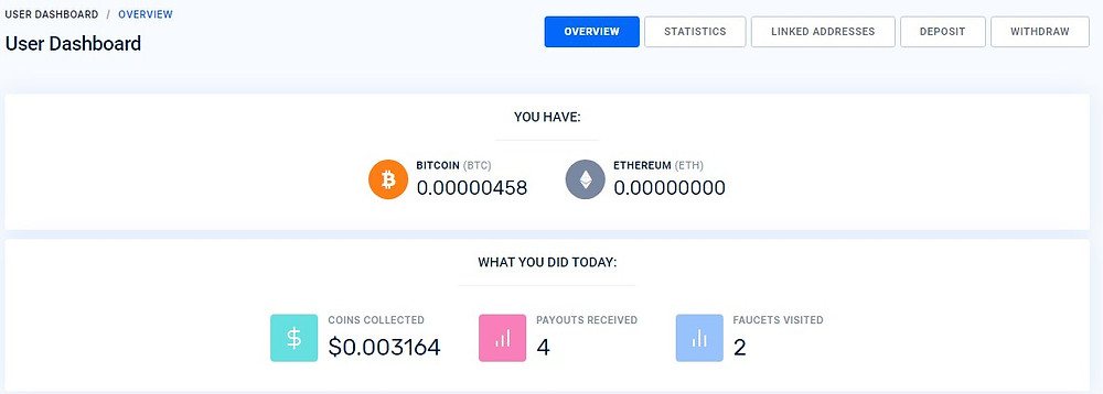 FaucetPay dashboard