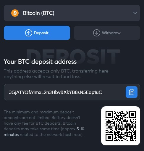 BTC deposit betfury
