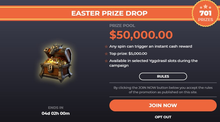 easter prize drop fortunejack promo join