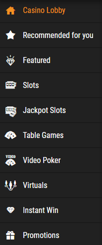 cloudbet casino menu
