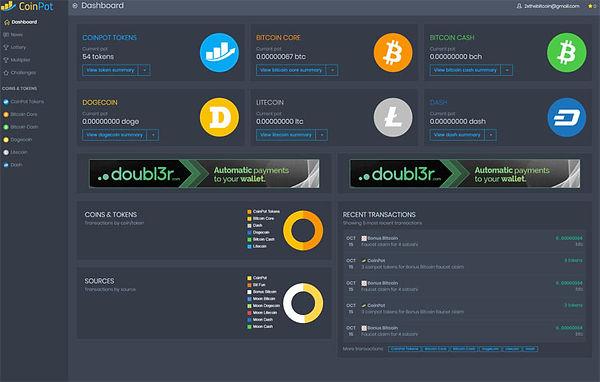 CoinPot dashboard