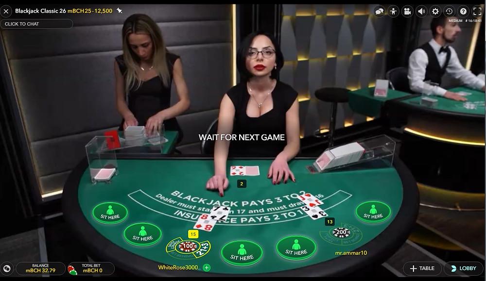 Cloudbet Live Blackjack Evolution table