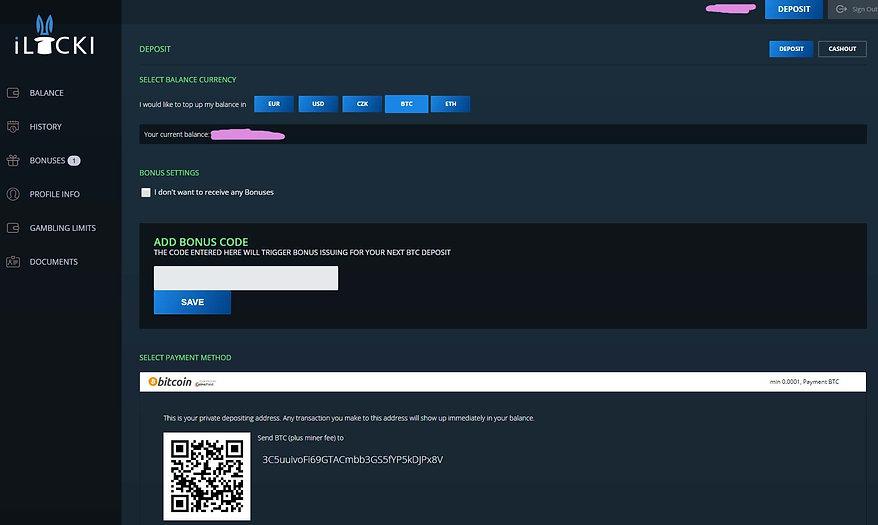 iLUCKI bitcoin deposit