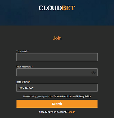 cloudbet sign up