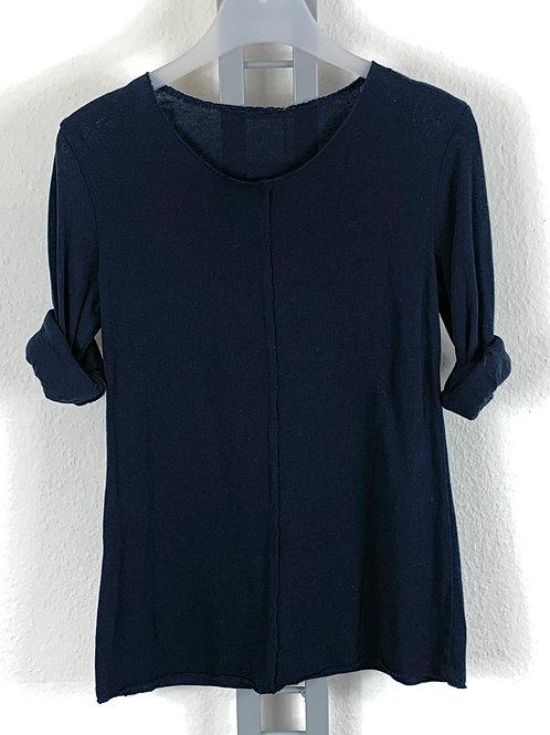 Marineblaues Basicshirt - Leinenfeeling