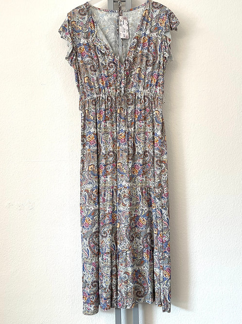 Kleid Streublumen - Hellbau
