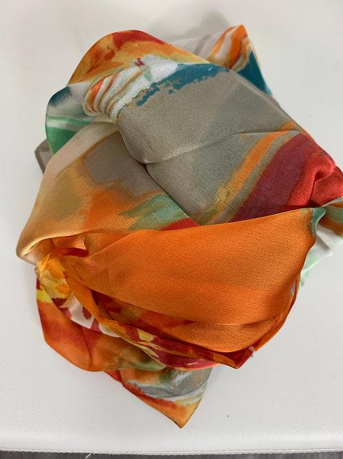 Bunter Viskose/Seide-Schal in drei Farben