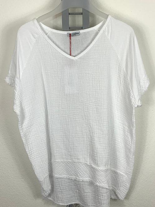 Shirt in Materialmix weiss