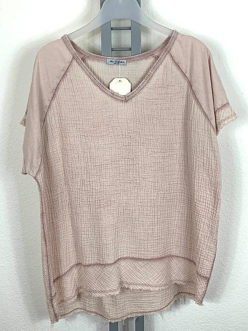 Shirt in Materialmix Rosa