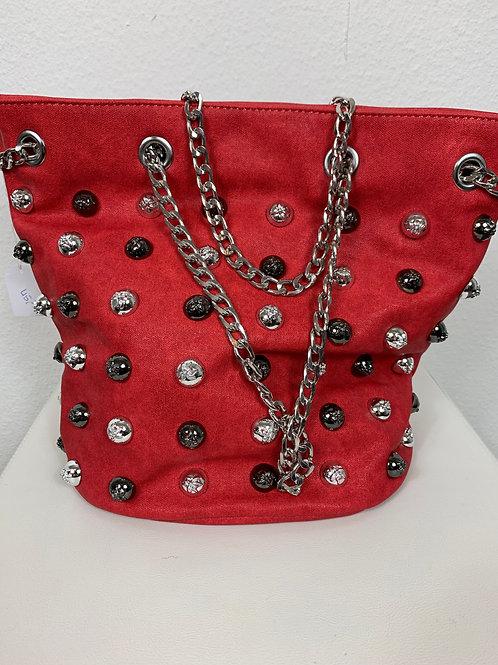 Rote Tasche mit Glitzernieten