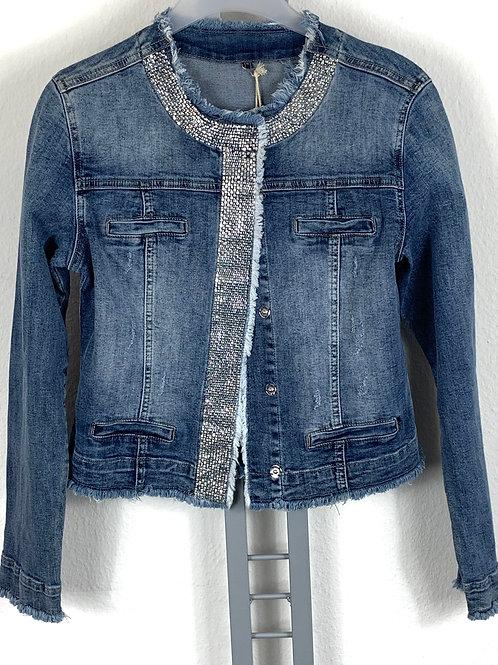 Jeansjacke mit Glitzerbesatz