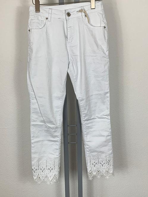 Jeans weiss mit Stickerei