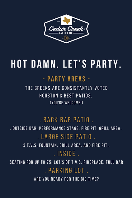 Cedar Creek Parties