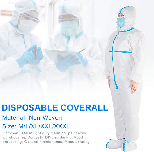 Disposable Coverall with Protective Tapes: Full Body Protective Suit Long Zipper