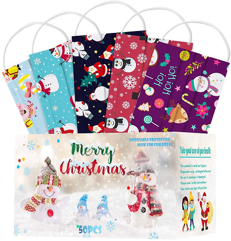 50Pcs Christmas Theme Printed Disposable with a Box for Adult, Multiple Pattern