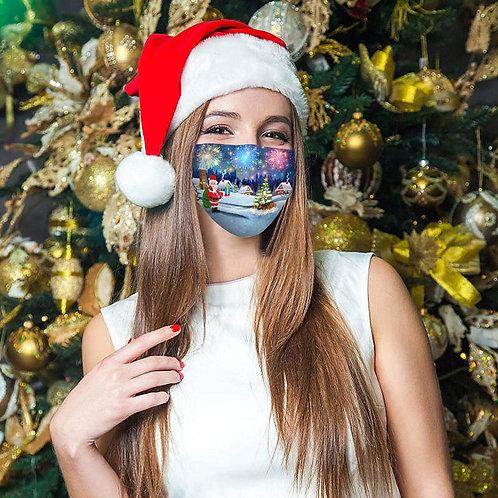0/50 PCS Christmas Disposable Face_Masks,Unisex Adult 3-ply Non-Woven Fab Xmas