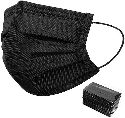 50 Pack Individually Wrapped Disposable Black Face Mask Cover for Adults, Dustpr