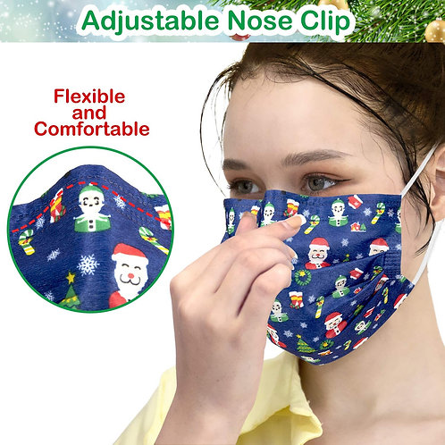 Disposable Face Masks, Face Masks of 50 Pack Disposable Mask-Christmas (50) BL