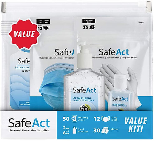 SafeAct Value PPE Kit for Adults, with Disposable Face Masks, Gloves, Wipes, and