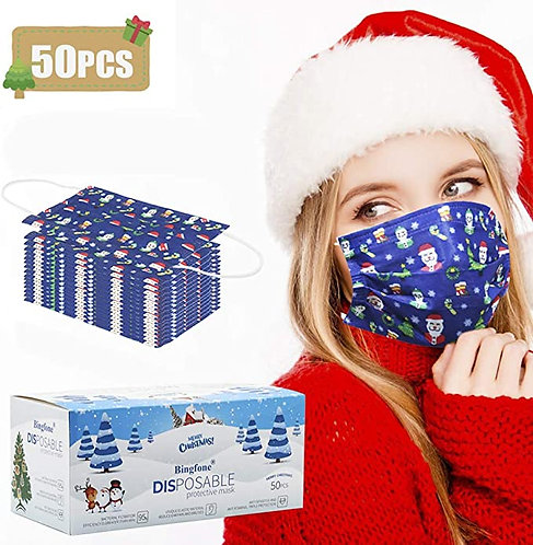 Christmas Disposable Face Mask, Christmas Face Masks for Adult (50)