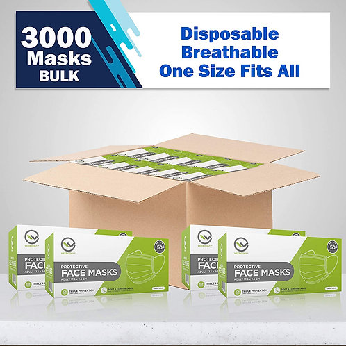 Breathable Masks 3 Ply, Level 2 Masks, 3000