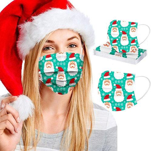 50 PCS Adults Disposable Christmas Printed Mixed Face Bandanas,(50)