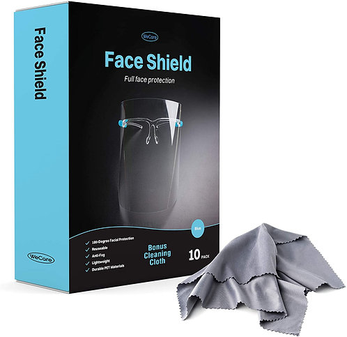 Face Shield Glasses 10 Pack - 180° Plastic Face Protectors with Blue Eyeglasses