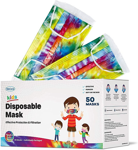 Kids Face Masks 50 Pack, Tie Dye, Individually Wrapped, Disposable 3 Ply