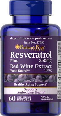 Puritan's Pride Resveratrol & Red Wine 60 Softgels