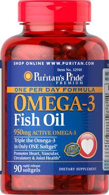 Puritan's Pride Omega-3 Fish Oil 1360 mg/ 90 Sgels