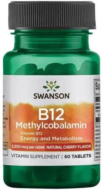 Swanson Ultra Vitamin B12 Methylcobalamin 2,500 mcg 60 Tabs-Natural Cherry Flavo