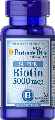 Puritan's Pride Super Biotin 5000 mcg/ 60 Capsules