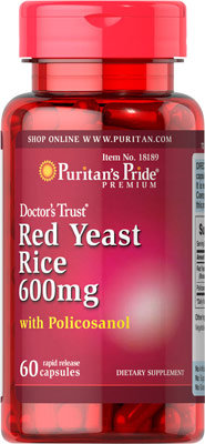 Puritan's Pride Red Yeast Rice &Policosanol/ 60 Cp