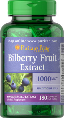 Puritan's Pride Bilberry Extract 1000 mg/180 Softs