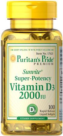 Puritan's Pride Vitamin D3 2000 IU/ 100 Softgels