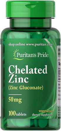 Puritan's Pride Zinc Chelate 50 mg 100 Caplets