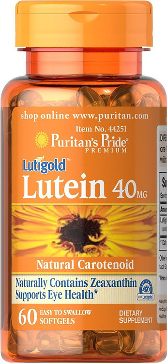 Puritan's Pride Lutein 40mg w/Zeaxanthin 60 Softs